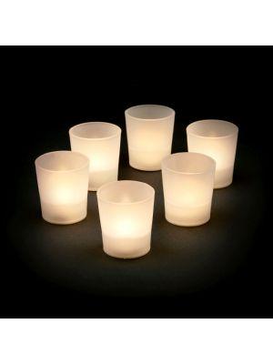 Set 6 candele con bicchierino a batteria - effetto fiamma - led bianco classic