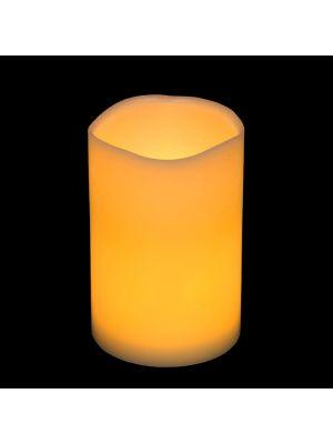 candela in cera ø 10 x h 15 cm a batteria - effetto fiamma - led bianco classic