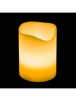 Candela in cera avorio Ø 7,5 x H 10 cm a batteria - effetto fiamma - led bianco classic