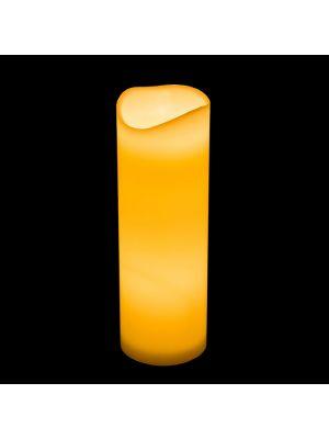 Candela in cera avorio ø 10 x h 30 cm a batteria timer - effetto fiamma - led bianco classic