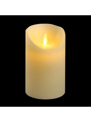 candela avorio in cera rustic h 12,5 cm a batteria timer on-off - moving flame - led bianco caldo