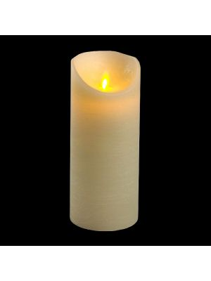 candela avorio in cera rustic h 18 cm a batteria timer on-off - moving flame - led bianco caldo