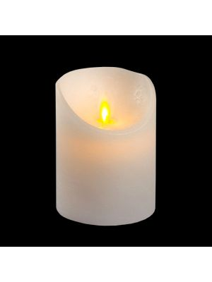 candela in cera bianca rustic h 10 cm a batteria timer on-off - moving flame - led bianco caldo