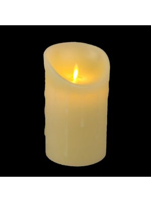 candela avorio in cera con gocce ø 9 x h 15 cm a batteria timer on-off - moving flame - led bianco caldo