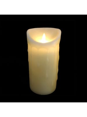 candela avorio in cera con gocce ø 9 x h 18 cm a batteria timer on-off - moving flame - led bianco caldo