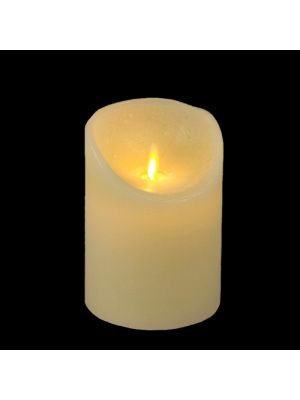 candela avorio in cera rustic ø 9 x h 12,5 cm a batteria timer on-off - moving flame - led bianco caldo