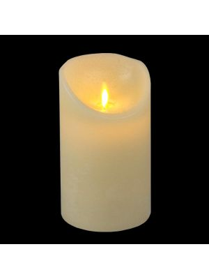 candela avorio in cera rustic ø 9 x h 15 cm a batteria timer on-off - moving flame - led bianco caldo