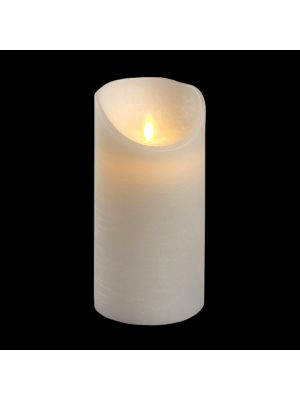 candela in cera bianca rustic h 15 cm a batteria timer on-off - moving flame - led bianco caldo
