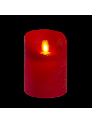 candela in cera rossa rustic h 10 cm a batteria timer on-off - moving flame - led bianco caldo
