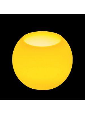 Candela sferica in cera avorio Ø 7,5 a batteria - effetto fiamma - led bianco classic