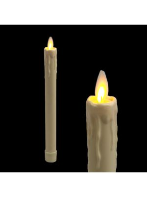candela avorio in cera con gocce ø 2,3 x h 23 cm a batteria timer on-off - moving flame - led bianco caldo