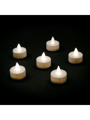 Set 6 candeline Tea Light a batteria - effetto fiamma - led bianco classic
