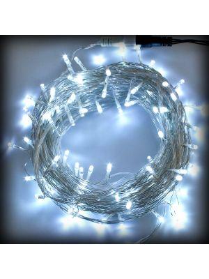Catena luminosa 10 m - 100 LED Reflex - SENZA alimentazione - prolungabile - bianco ghiaccio freddo