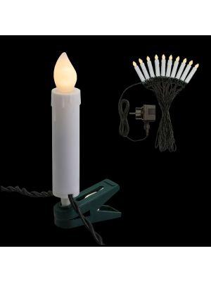 Catena 10 candele clip a batteria per albero di natale - effetto fiamma - bianco classic