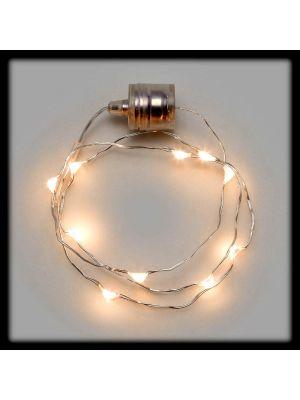 Collana luminosa 10 Microled a batteria - luce fissa - bianco classic