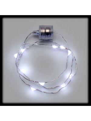 Collana luminosa 10 Microled a batteria - luce fissa - bianco ghiaccio