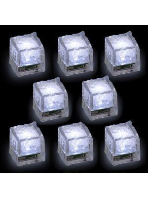 set 8 cubetti di ghiaccio galleggianti a batteria - on-off sensore umidità - led bianco ghiaccio