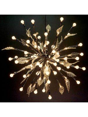 Ramo luminoso Twig ball 100 Led con sfere e foglie - luce fissa - bianco classic