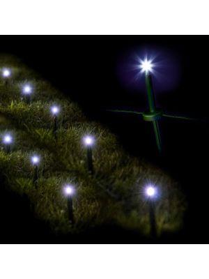 Decorazione luminosa 24 garden ministicks luce fissa prolungbile bianco ghiaccio illuminata
