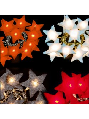 Kit 4 catene led a batteria 10 stelle in feltro in colori assortiti luce fissa bianco classic caldo