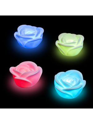 set 4 rose luminose tea light a batteria - cromo digital - led multicolor rgb