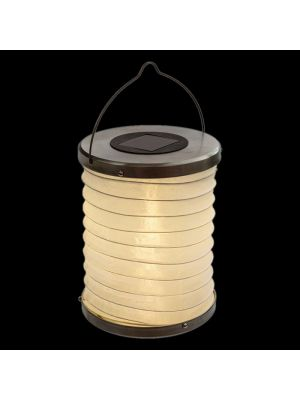 Lanterna led cilindrica bianca a batteria solare - luce fissa - bianco caldo