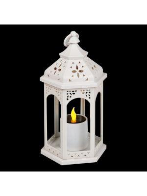 Lanterna bianca con candela led a batteria solare - effetto fiamma - bianco caldo