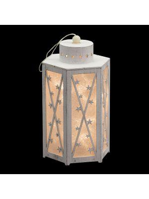 Lanterna 3d glitter in legno vintage bianco a batteria h 26 cm - 12 led a luce fissa - bianco classic