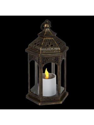 Lanterna brunita con candela led a batteria solare - effetto fiamma - bianco caldo