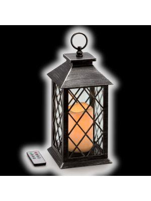 Lanterna nero antico con candela LED CLASSIC effetto Fiamma -  Telecomando Timer - a Batteria
