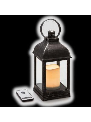 Lanterna nero antico batteria telecomando on/off - effetto fiamma - bianco caldo