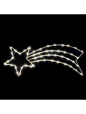 Decorazione Stella cometa 85 x h 33 cm - 50 Led effetto rincorsa bianco classic