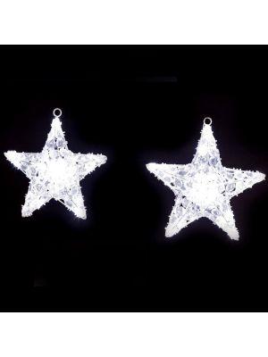 Set due Stelle natalizie Crystal 100 Led - Flashled Diamond bianco ghiaccio