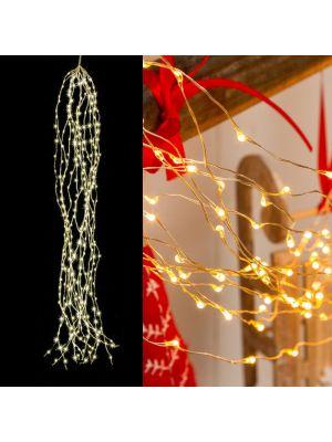 Cascata di luci 300 microled - 15 stringhe da 1,20 m - cavo metal - luce fissa - bianco classic