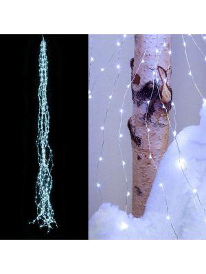 Cascata di luci 600 microled cavo metal - luce fissa -  bianco ghiaccio