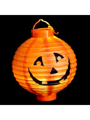 Lanterna di carta Zucca Halloween a batteria - luce fissa - bianco classic