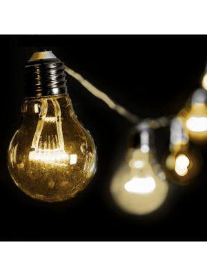 Catena 5 m - 10 lampadine a goccia 60 miniled prolungabile - luce fissa - bianco classic