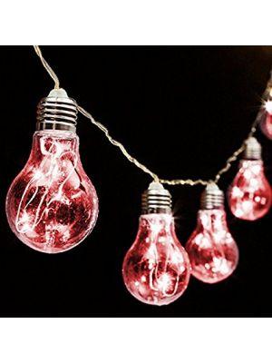 Catena 5 m - 10 lampadine a goccia 60 microled - prolungabile - luce fissa - rosso