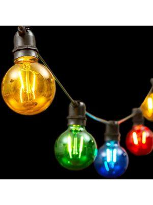 Catena 8 m - 10 lampadine e27 ø8 cm - prolungabile - filament led - multicolor