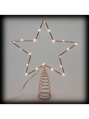Puntale a stella per albero di natale metal frame 20 microled luce fissa bianco caldo vetrina