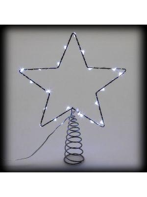 Puntale a stella per albero di natale metal frame 20 microled luce fissa bianco ghiaccio vetrina