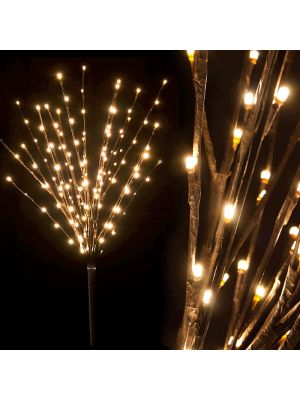 Ramo marrone luminoso H 100 cm 144 led luce fissa bianco classic vetrina