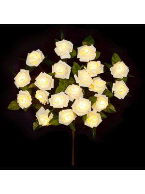 Ramo marrone con 20 rose bianche a batteria luce fissa led bianco classic mazzo fiori