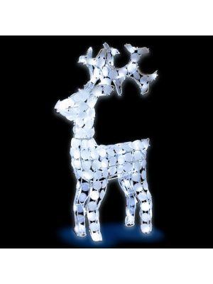 Renna bianca H 70 cm ACP 3D White 100 led reflex - luce fissa - bianco ghiaccio