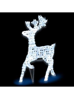 Renna bianca galoppante H 85 cm ACP 3D White 200 led reflex - luce fissa - bianco ghiaccio