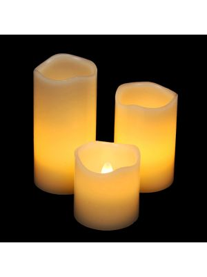 Set 3 candele in cera avorio Ø 5 cm a batteria - effetto fiamma - led bianco classic