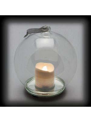sfera in vetro con candela led a batteria ø12cm - effetto fiamma - bianco caldo