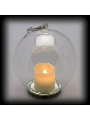 sfera in vetro con candela led a batteria ø15cm - effetto fiamma - bianco caldo