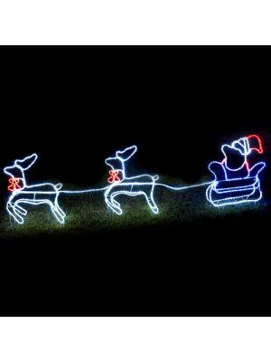 Babbo Natale su slitta con due renne