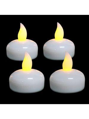 Set 4 Tea Light galleggianti effetto fiamma - On/Off sensore umidità - bianco classic